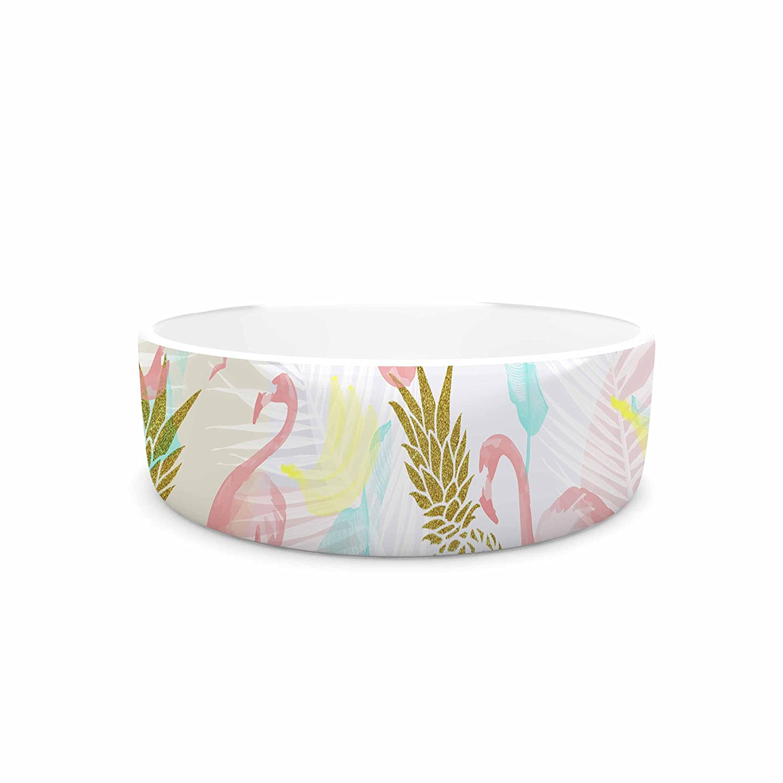 KESS InHouse Mmartabc Tropical Fruit Animals Pink gold Illustration Pet Bowl, 7  Diameter