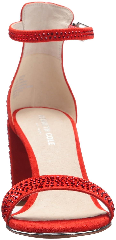7 M US Kenneth Cole New York Womens Lex Shine Glitzy Block Heeled Sandal Ankle Strap Persimmon