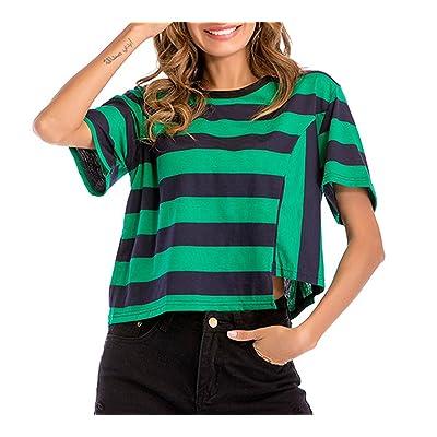Été Chemisiers Femme Sweatshirts Fashion Rayure Irregulier Blouse Tops Casual Col Rond Manches Courtes Haut T-Shirts