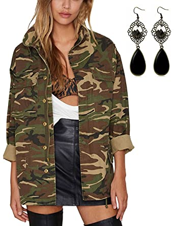 sitengle Damen Mantel Retro Jacken mit Military Stil Casual Camouflage Tarnung Jacke Outwear