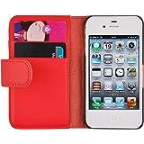 Housse iPhone 4 4s  Coque iPhone 4 4s | JAMMYLIZARD | Housse portefeuille Classique aspect cuir range cartes fermeture magnétique, Rouge
