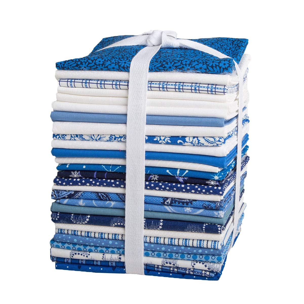 Connecting Threads Stashbuilder Precut Quilting Fabric Fat Quarter Bundle (Blue and White)
