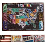 HANTAJANSS America Metal Signs with I Love USA Retro Tin Sign 12 X 8 Inches
