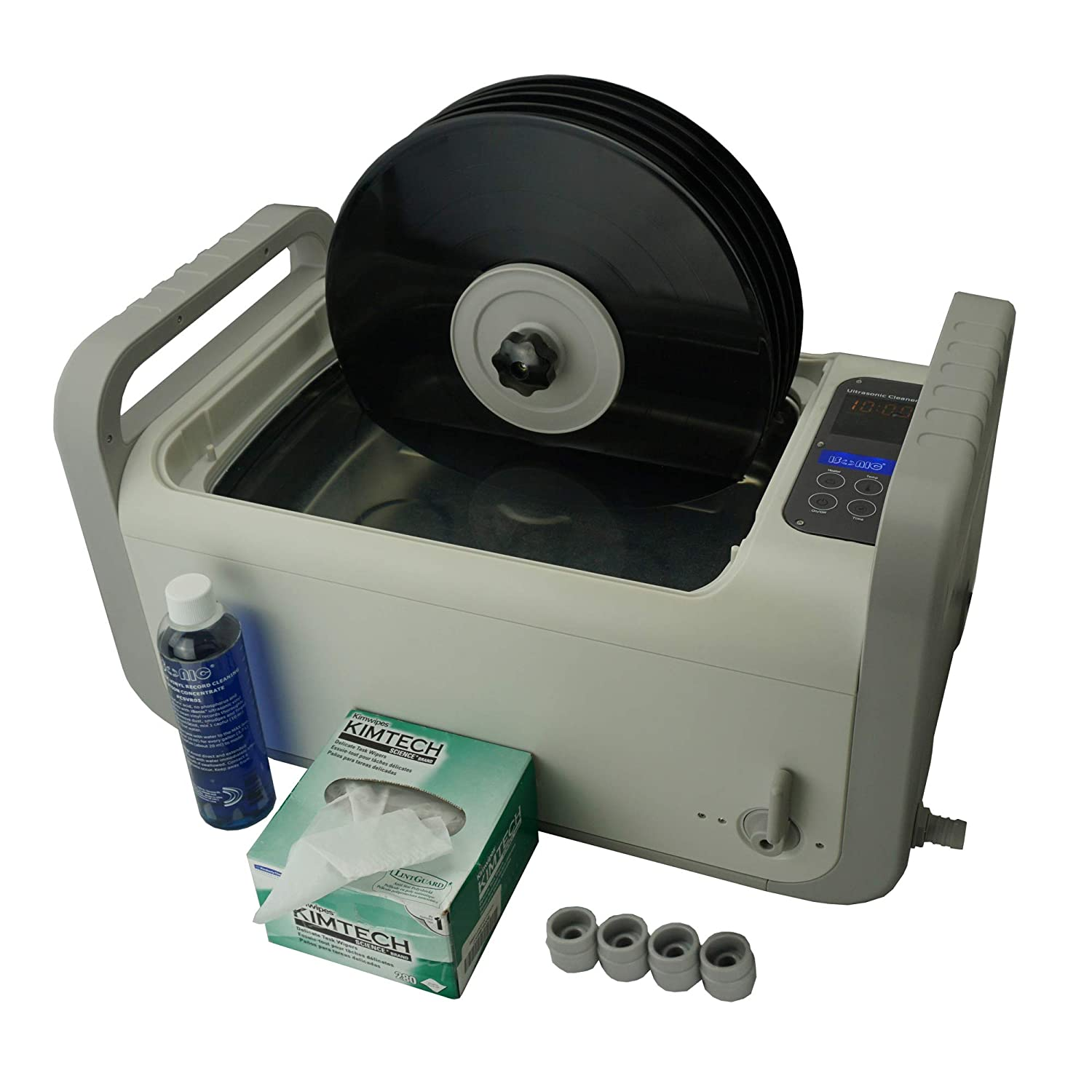 """iSonic P4875-NH+MVR5 or P4875II-4T-NH+MVR5 Motorized Ultrasonic Vinyl Record Cleaner for 5 12"""" to 10"""" Records, 2 Gal/7.5L, 110V, with Cleaning Solution Concentrate, Kimwipes no-lint Tissue, 4 spacers"""
