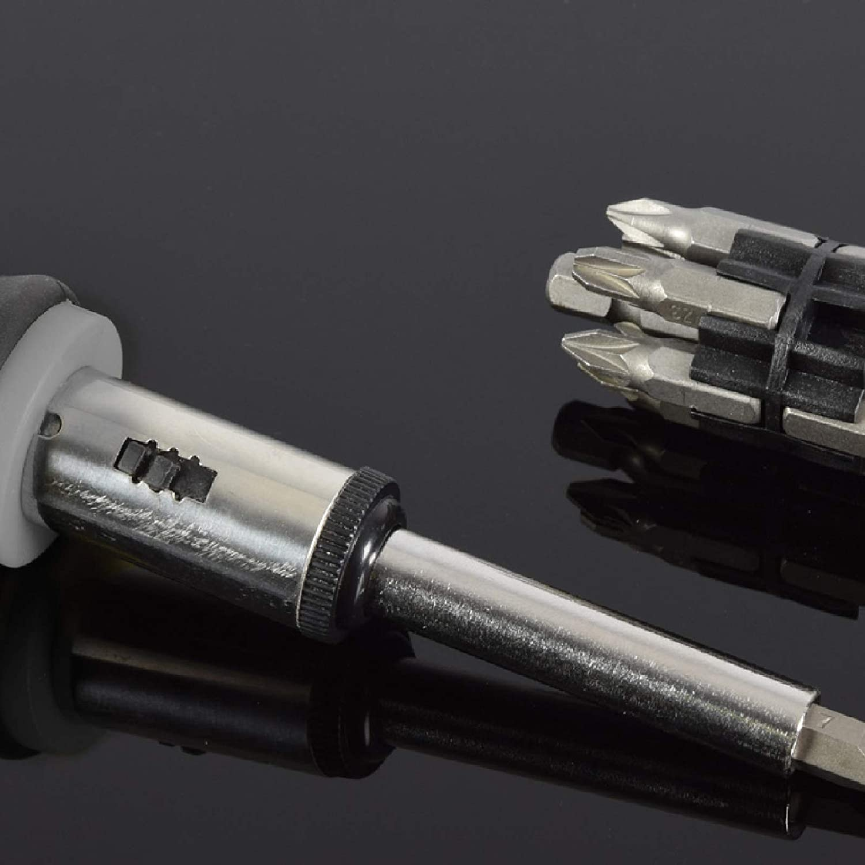 Powerful Soft-Grip Ratchet Screwdriver And 12 Piece Magnetic Bit Set