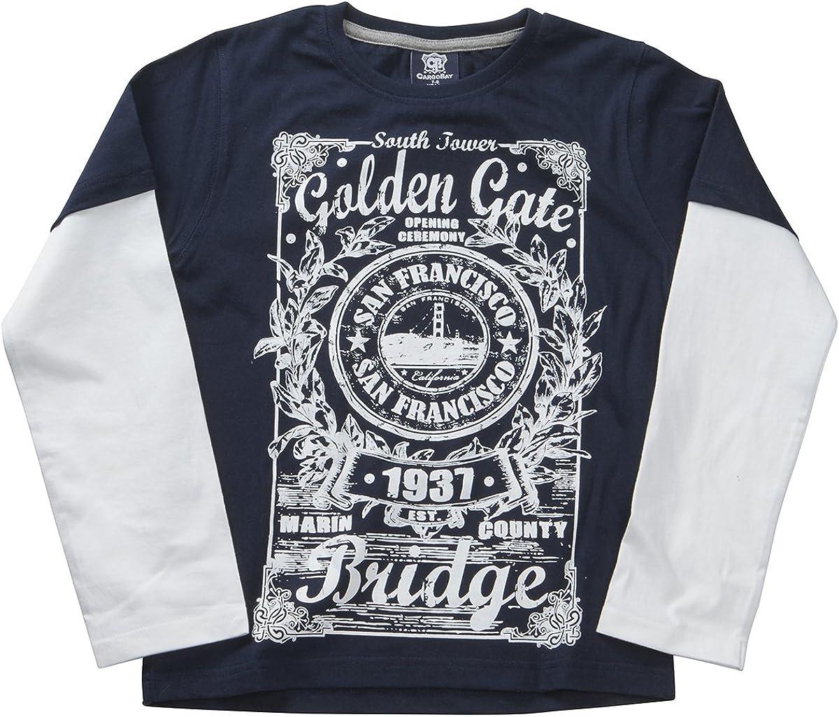 Minikidz Childrens Kids Boys Mock Long Sleeve Tshirt Printed Graphic Cotton Top Ages 7-13