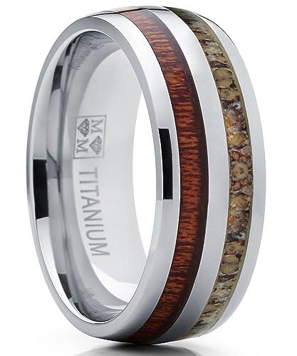 Ultimate Metals Co Herren Titan Ehering Mit Hirschhorn Und Holz