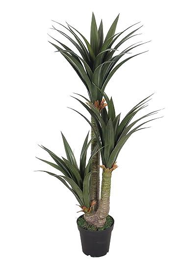PASAMO 07610 Yucca Palme 155 Cm Künstliche Pflanze Mit Echtholzstamm