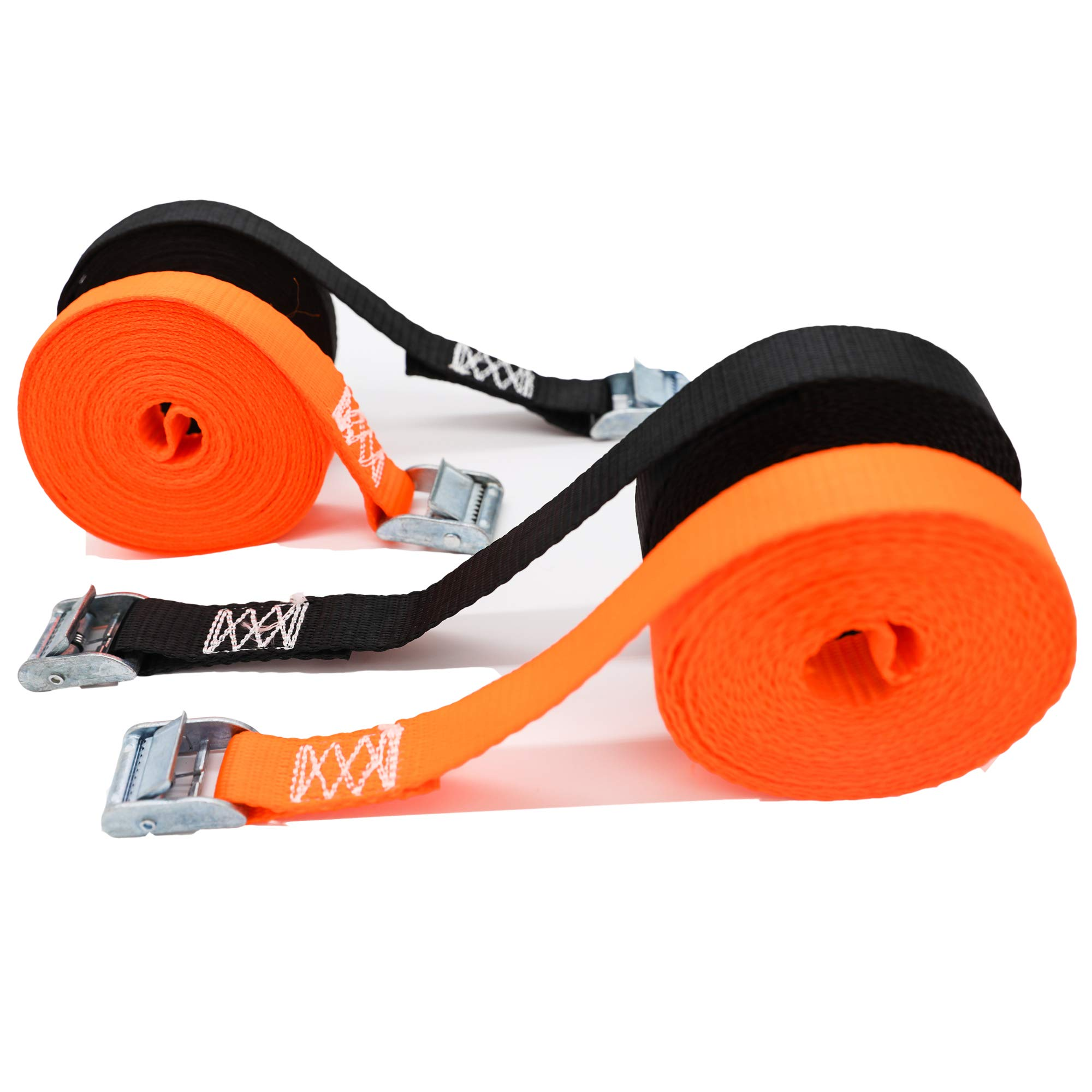 AutoService •Tie Down Straps 16' x 1'' Heavy Duty Lashing Straps Adjustable Cam Buckle Tie-Down Straps for Motorcycle, Cargo, Trucks,Trailer,Dirt Bikes Black/Orange 4 Pack by AutoService