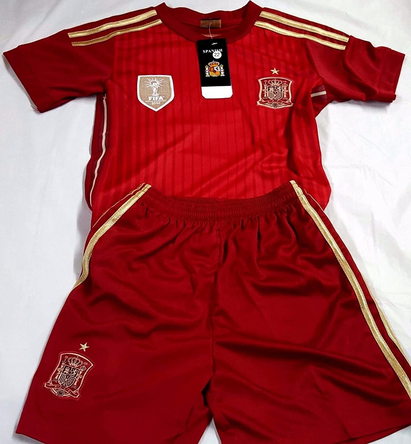 新しい。Spain National Team Jersey and Short SetキッズL ( 6 – 7歳) B07BJN383G