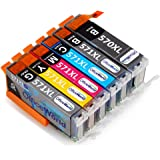 OfficeWorld Replacement for Canon PGI-570XL CLI-571XL Ink Cartridges 6 Color (Contain Grey) Compatible for Canon PIXMA TS8050 MG7700 MG7750 (NOT 7550) MG7751 MG7752 MG7753 TS8051 TS8052 TS8053 TS9050 TS9055