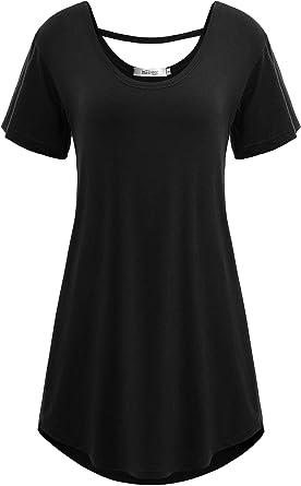 Meaneor Camiseta de Mujer para Verano, talla grande, manga corta, cordones en la espalda, Camiseta larga, escote en O básico