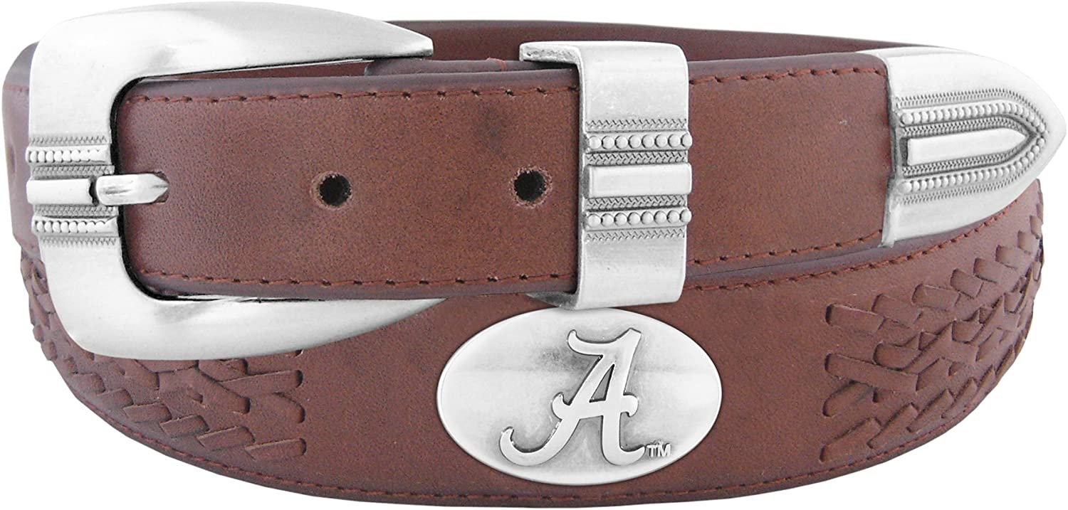 NCAA Alabama Crimson Tide Full Grain Leather Braided Concho Belt