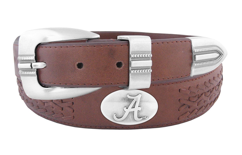 NCAA Alabama Crimson Tide Full Grain Leather Braided Concho Belt Zeppelin Products Inc. UAL-BOLPTBRD-BRW-32-P