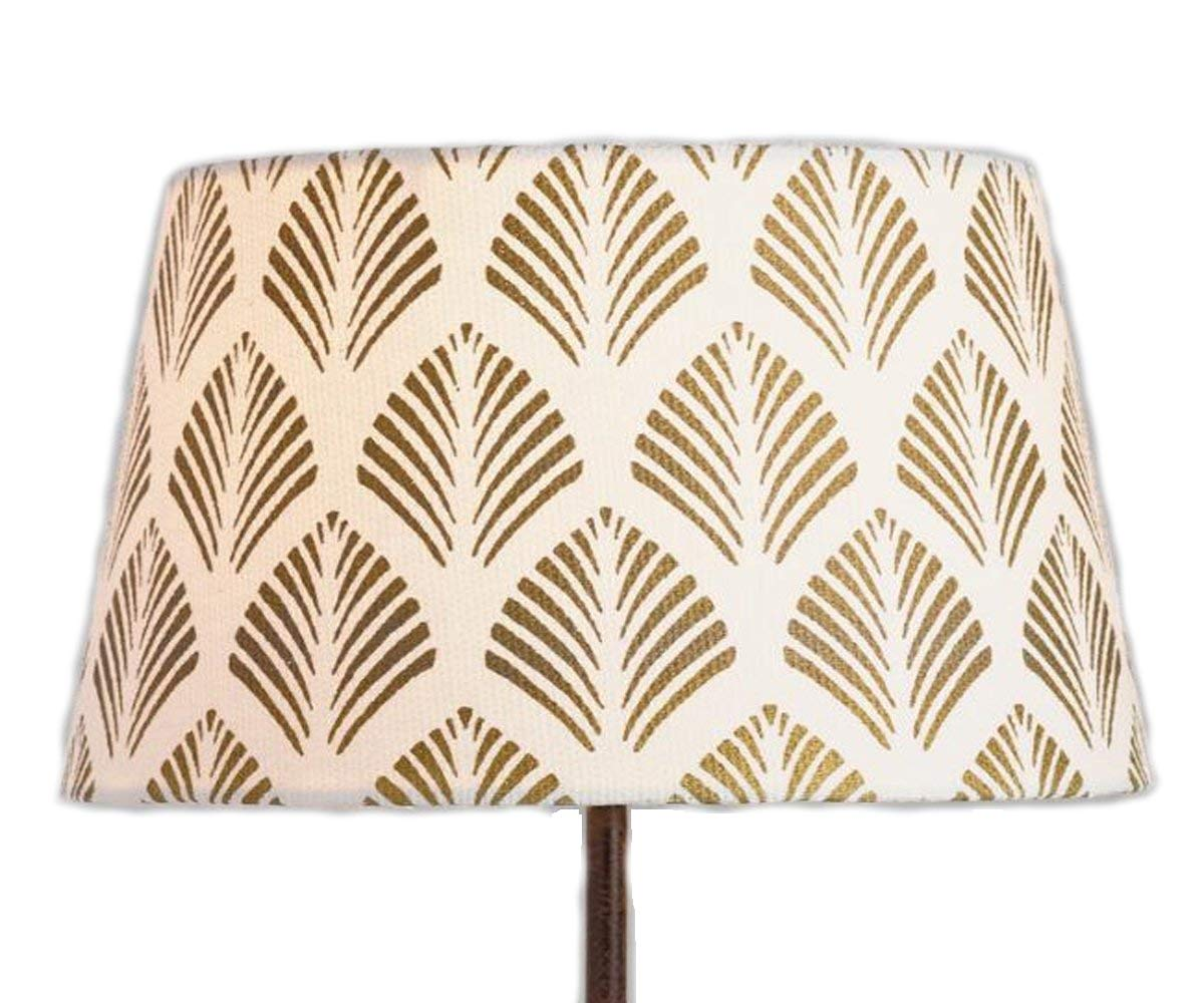Fern Accent Lamp Shade for Home Indoor Accents Lighting- Cotton and Gold Ivory Base - 10''Dia. x 6.75''H