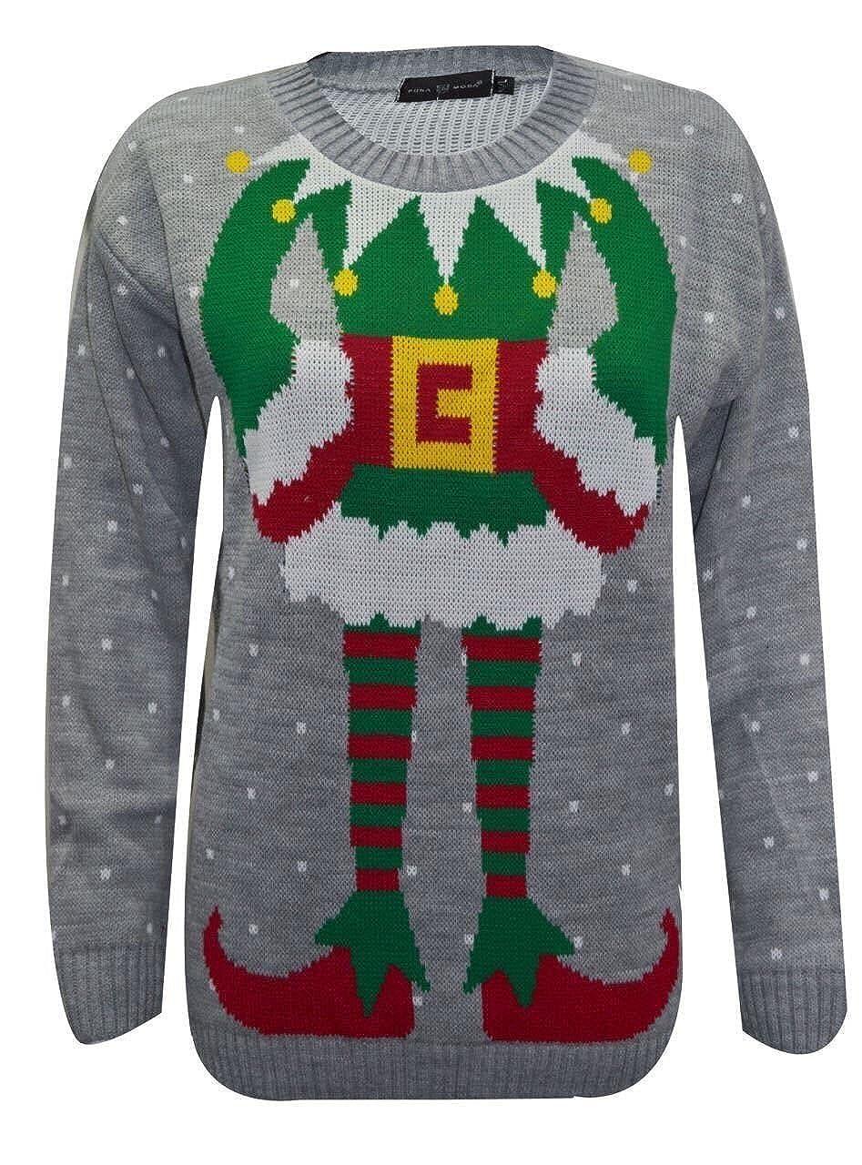 FK Styles Womens Rudolph Reindeer Print Snowflake Christmas jumper