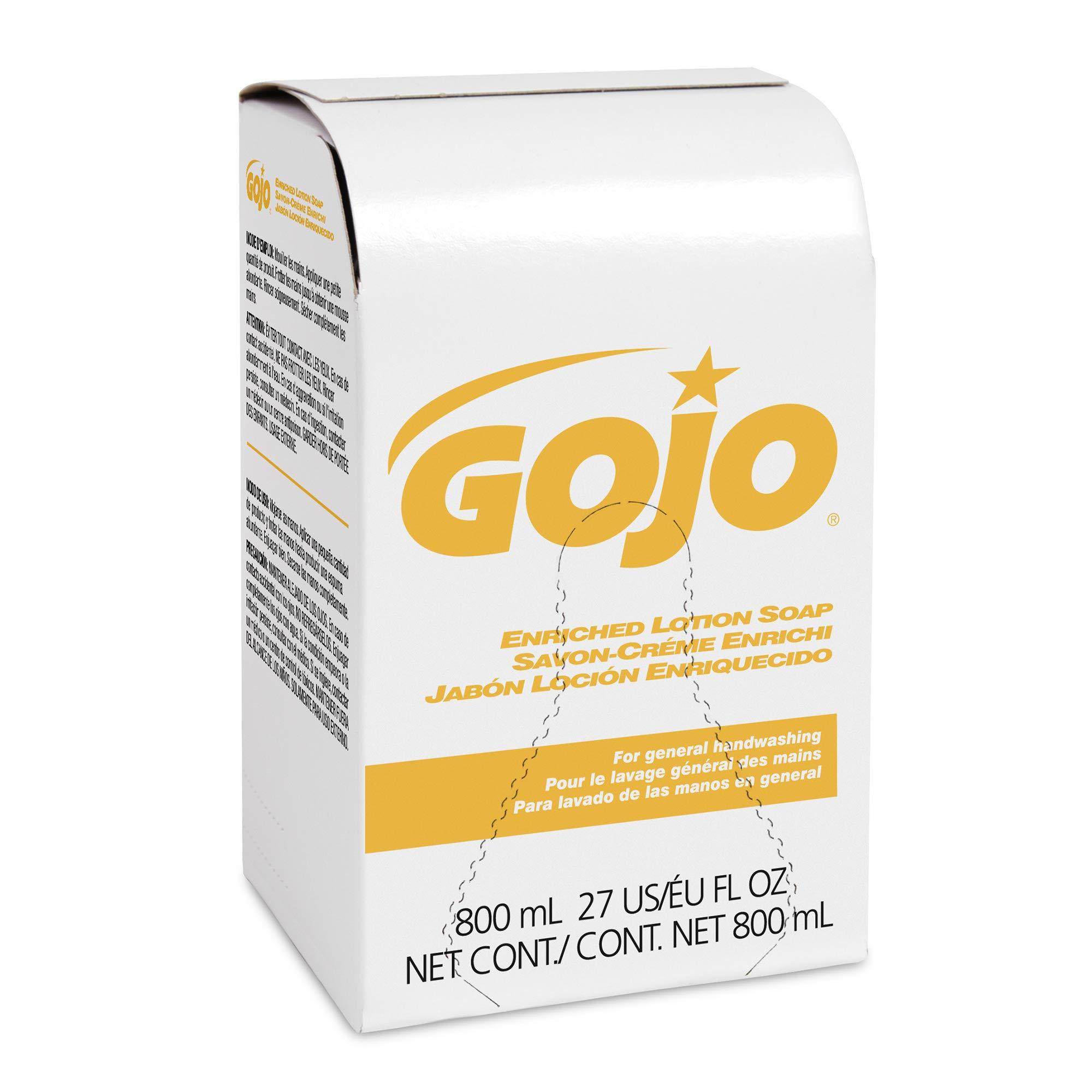 GOJO Enriched Lotion Soap, 800 mL Soap Refill for GOJO 800 Series Bag-In-Box Dispenser (Pack of 12) - 9102-12 by Gojo