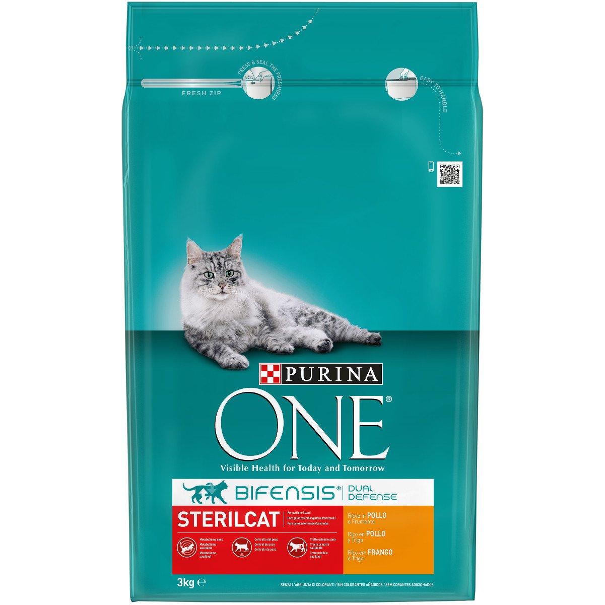 One Gatos Esterilizados Rico en Pollo y Trigo 3 Kg - 3000 gr: Amazon.es: Productos para mascotas
