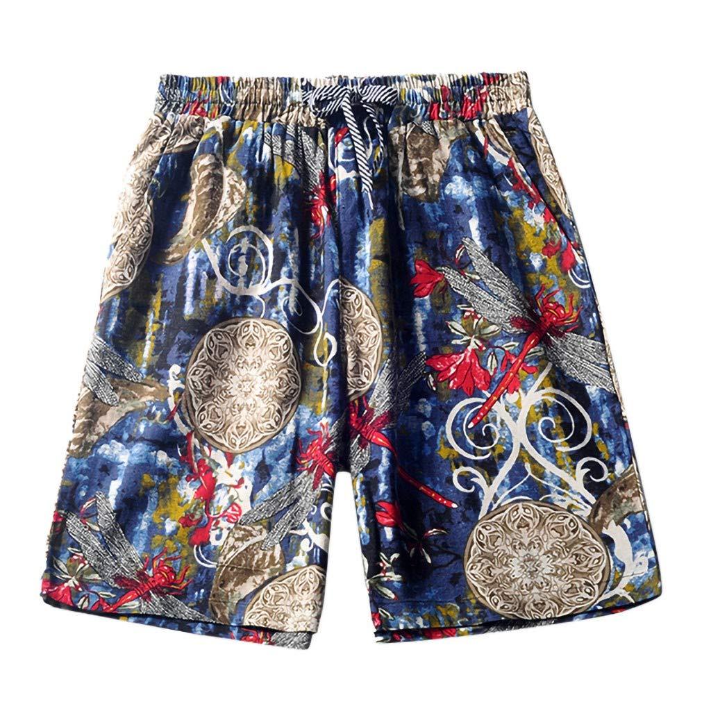 AMUSTER Pantaloncini Abbigliamento Maschile Maschi Jeans Eleganti Sportivi Spiaggia di Stampa Casual Fitness Lino