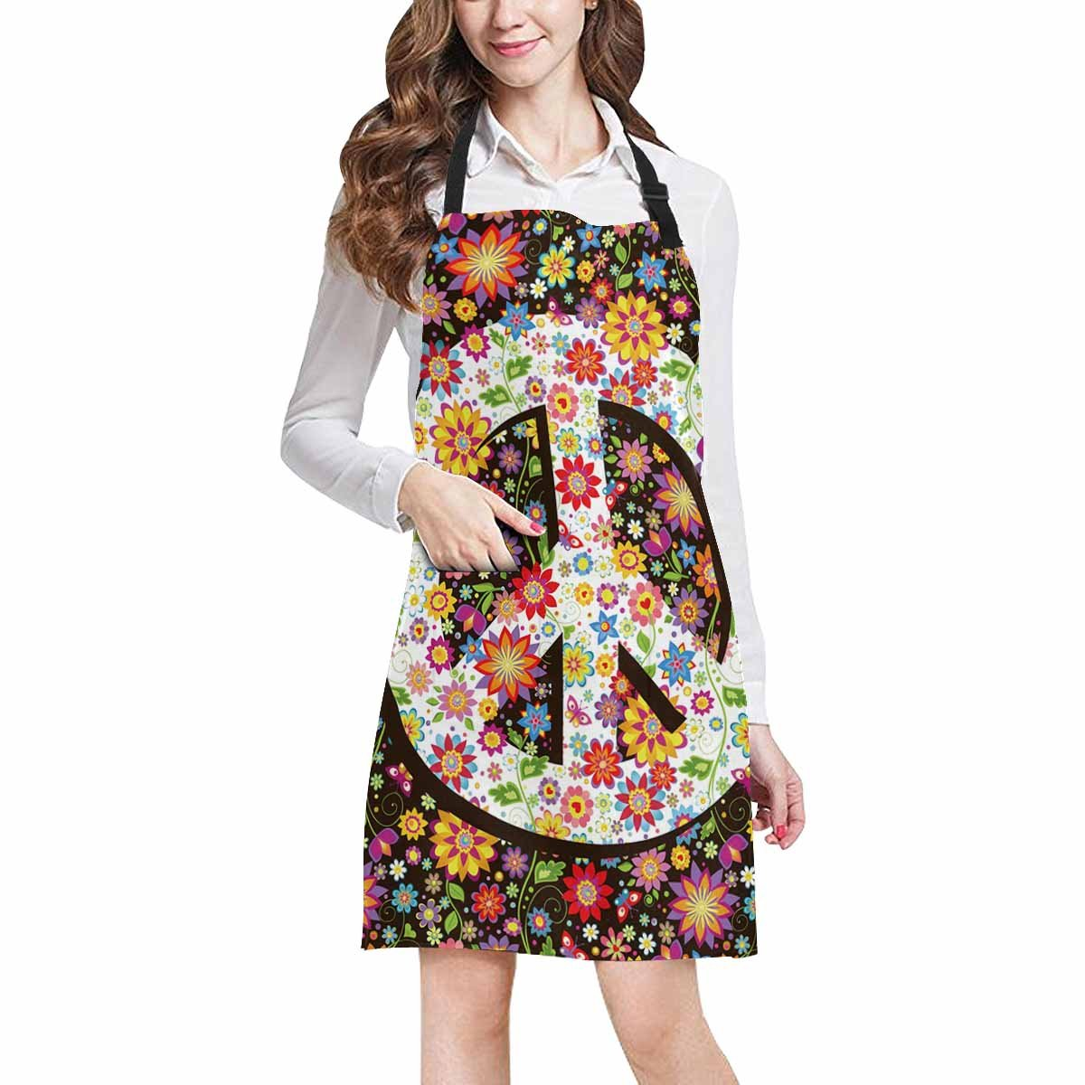 InterestPrint Hippie Floral Peace Symbol with Various Flowers Home Kitchen Apron for Women Men with Pockets, Unisex Adjustable Bib Apron for Cooking Baking Gardening, Large Size