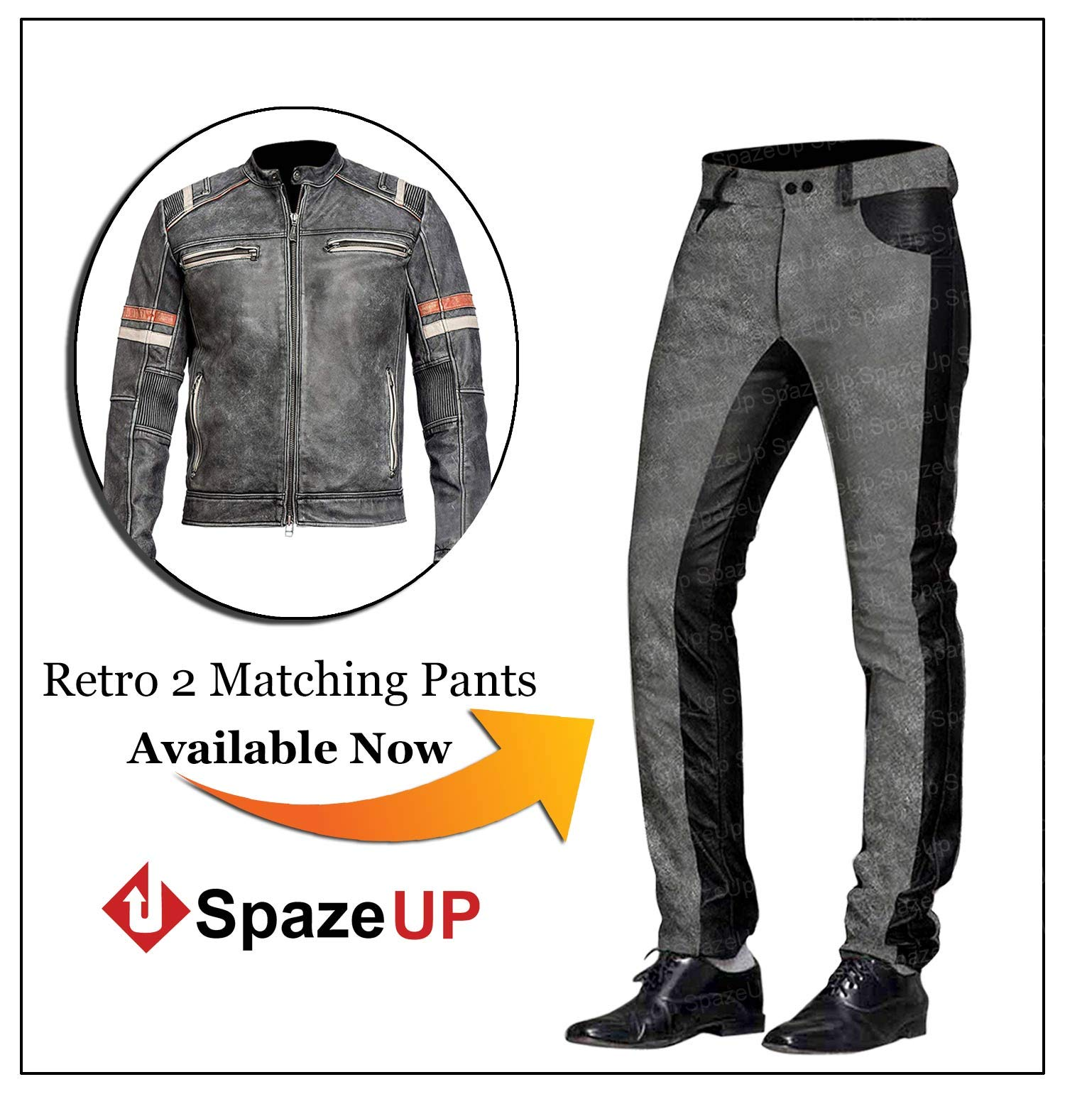 Cafe Racer Vintage Motorcycle Black and White Retro Moto Distressed Leather Pants