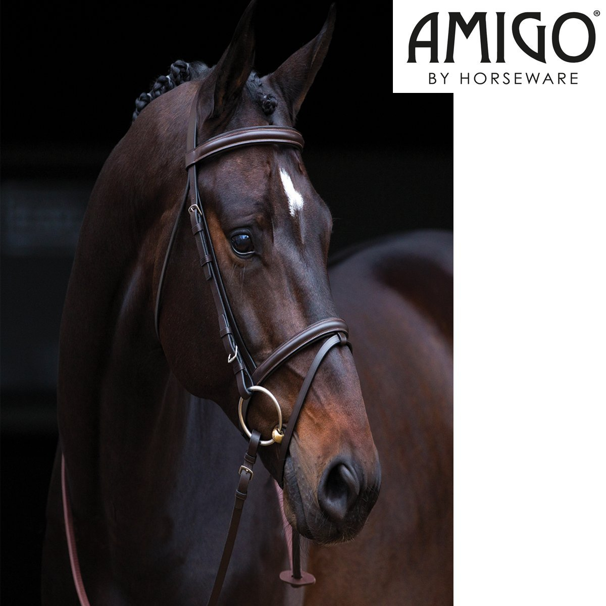 Horseware Amigo Flash Bridle with Rubber Grip Reins black pony