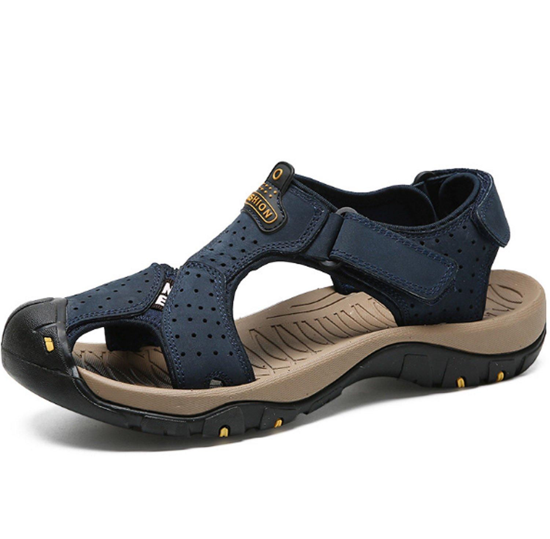 Sandalias de Verano para Hombres Zapatos de Playa de Cuero Slip Respirables Ocasionales Zapatillas de Exterior Chanclas EU44/UK10 Azul