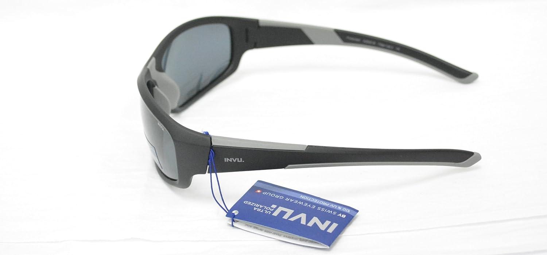 INVU un 2503 B Negro Lente polarizada Gafas de Sol Gris 100% UV Bloque Gafas de Sol polarizadas: Amazon.es: Deportes y aire libre
