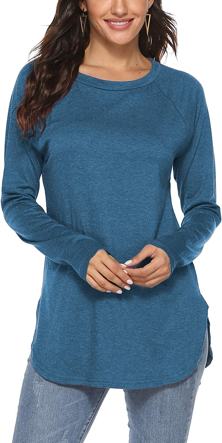 Newchoice Women's Casual Batwing Long Sleeve T Shirt Round Neck Basic Loose Tunic Tops