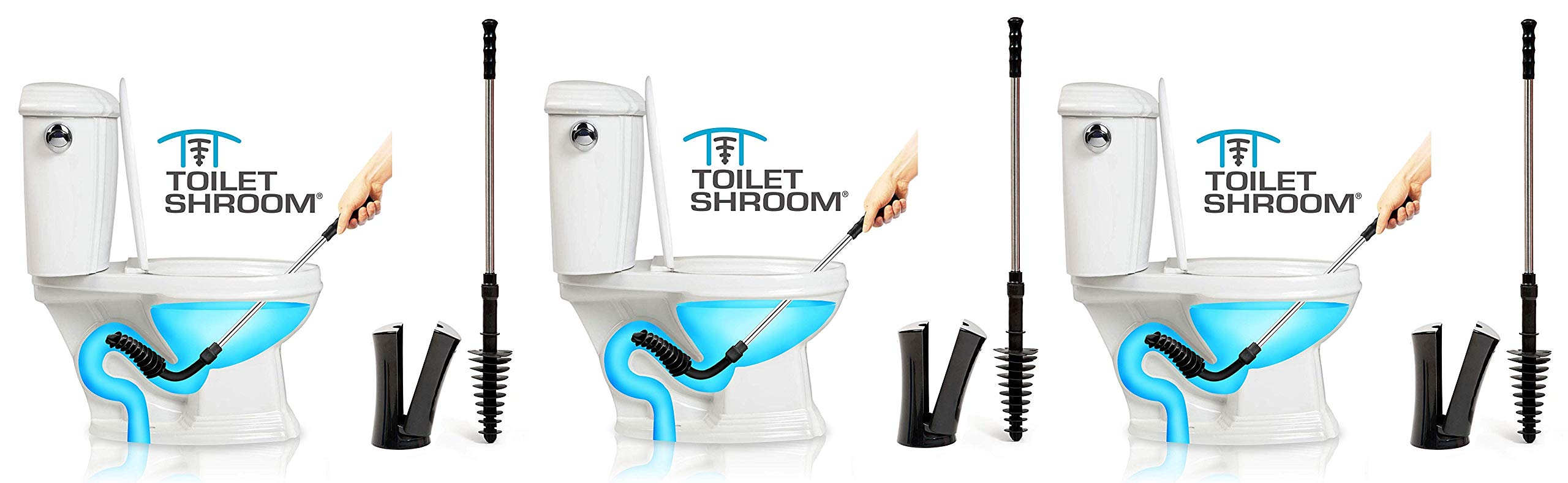 ToiletShroom Revolutionary Plunger, Squeegee, Clog Remover, Drain Cleaner, Bathroom Toilet Dredge Tool, Stainless Steel Handle with Caddy Holder, Black (Тhree Pаck)