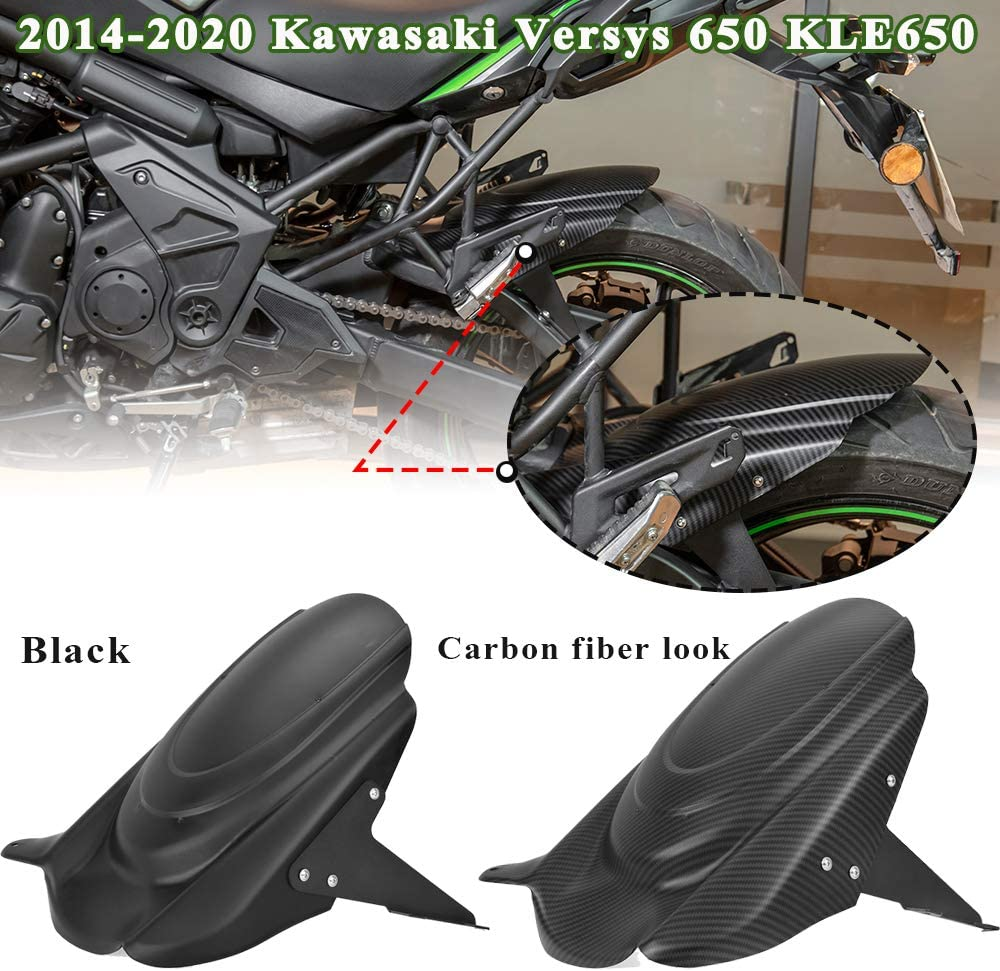 Black Lorababer for Kawasaki Versys 650 KLE650 Rear Hugger Fender Mudguard Wheel Cover Tire Splash Guard 2014-2020 Versys650 2015 2016 2017 2018 2019