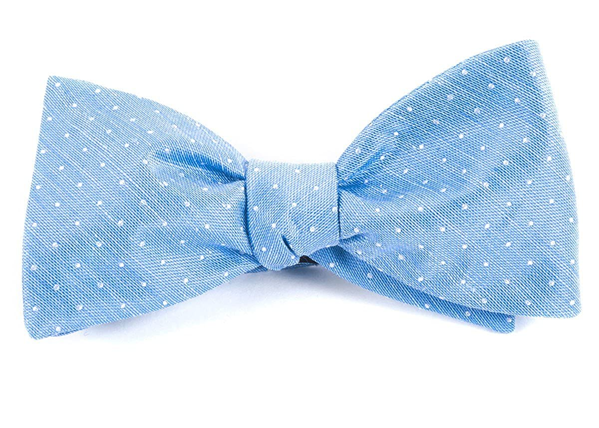 The Tie Bar 20/% Linen//80/% Silk Destination Dots Light Blue Pre-Tied Bow Tie