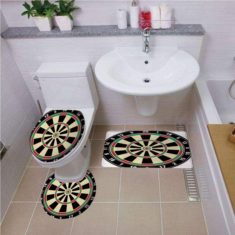 Bath mat set Round-Shaped Toilet Mat Area Rug Toilet Lid Covers 3PCS,Sports,Dart Board Numbers Sports Accuracy Precision Target Leisure Time Graphic,Vermilion Green Black ,Bath mat set Round-Shaped To