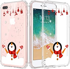 Caka Christmas Case for iPhone 7 Plus 8 Plus, iPhone 6 Plus 6S Plus Christmas Case Clear Floral with Design for Girls Women Girly Soft TPU Case for iPhone 6 Plus 6s Plus 7 Plus 8 Plus (White Snowman)