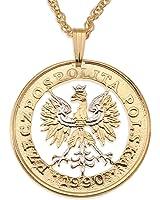 Amazon necklace republic of poland clothing poland eagle pendant necklace poland 100 zlotych hand cut mozeypictures Images
