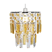 Oaks Lighting Maia Acryic Warerfall Pendant Shade in Chrome Frame with Clear and Amber Drops