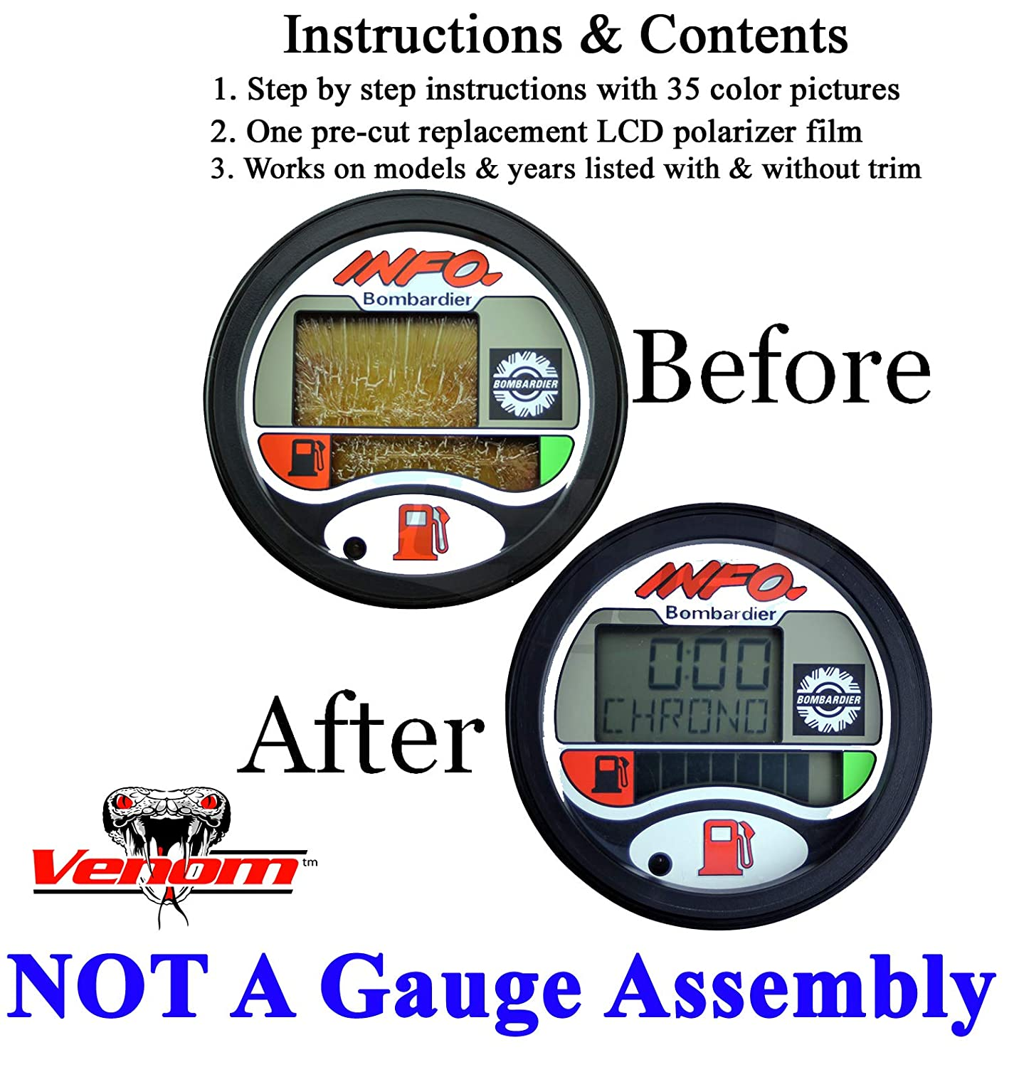 Compatible With SEA-DOO Repair Kit for LCD Info Gauge Center Display (Fits  MANY 1996-05 GTX GSX GTI LRV RX XP/LTD DI RFI, See Ad For Exact Model &