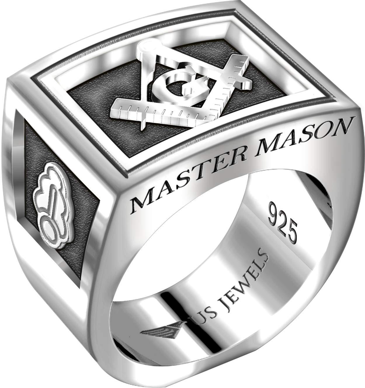US Jewels And Gems Men's Heavy 0.925 Sterling Silver Freemason Blue Lodge Ring Band, Size 9