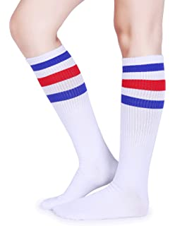 "22/"" KNEE HIGH WHITE tube socks with BUBBLEGUM PINK stripes style 1 22-16"