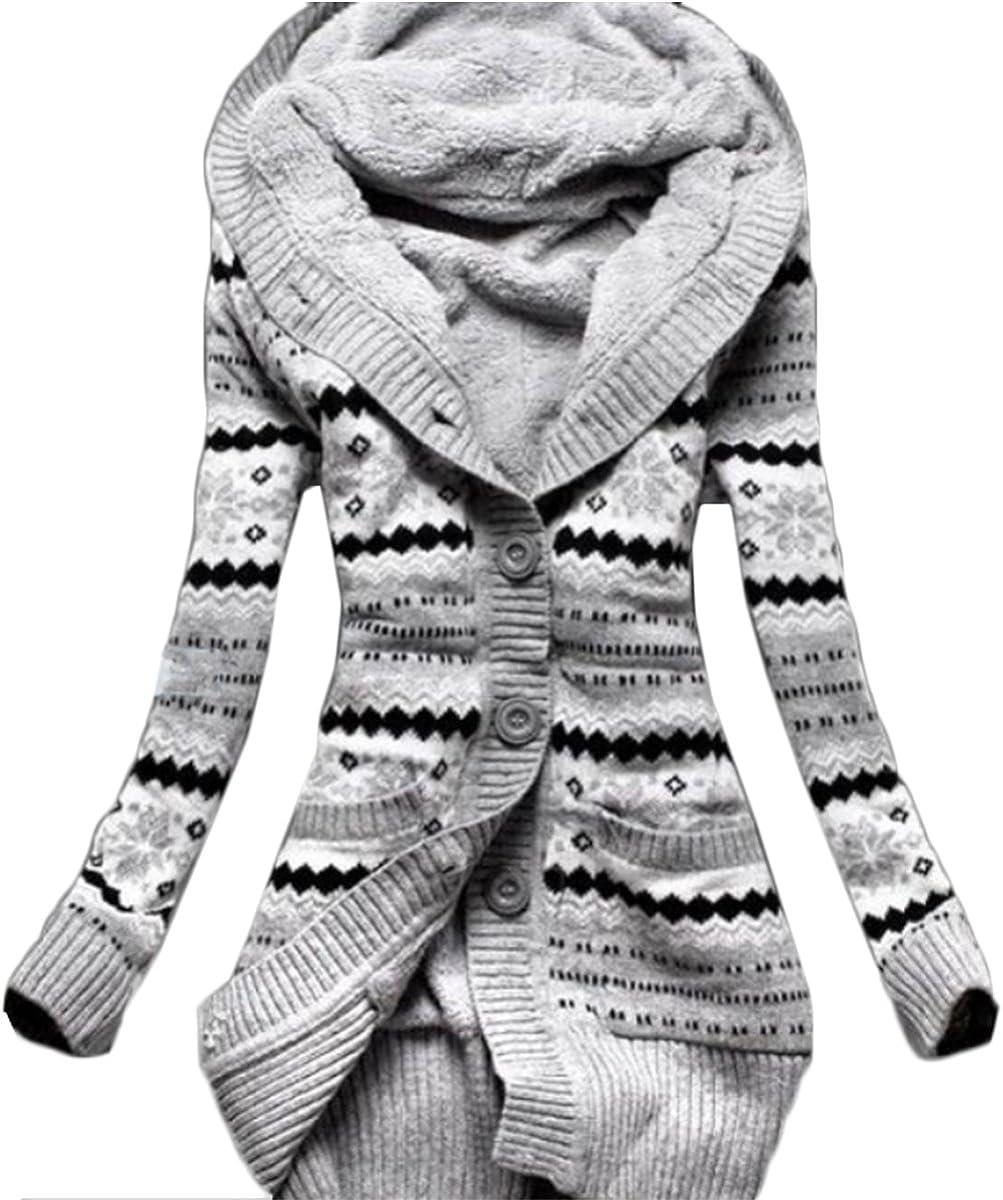TALLA S. Tomayth Otoño Invierno Mujer Casual Franja Patrón Lana De Punto Botón Cárdigan Sudaderas con Capucha Calentar Chaqueta Encapuchado Abrigos