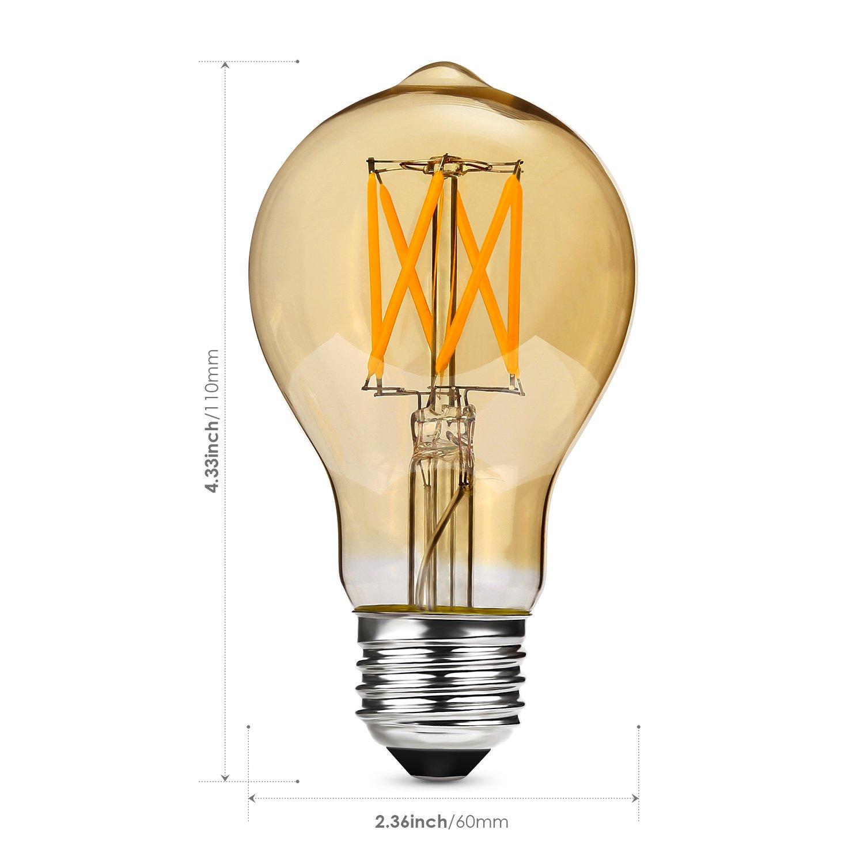 Albrillo Regulable E27 LED, Equivalente a 40 W, Filamento Bombilla Retro Edison Vintage, Blanco Cálido, 5W Warmweiss, E27, 5.00 wattsW, 230.00 voltsV ...