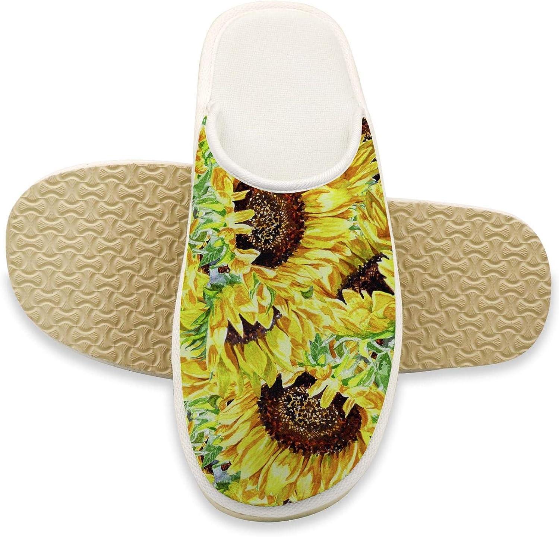 Amazon.com: House Slippers sunflowers pattern Memory Foam ...