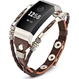 🎁Marval.P🎁 Compatible for Fitbit Charge 3 Bands, Handmade Leather Charge 3 SE Band, Replacement Unique Bracelet Strap, Wristbands with Adjustable Size, Fashion Wrist Band Straps for Women Men Lover