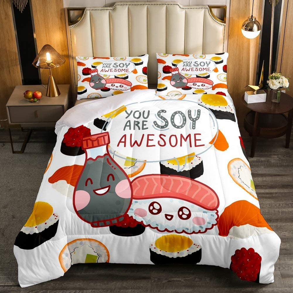 Erosebridal Sushi Comforter Set, 3D Cute Food Cartoon Sushi Bedding Set Twin Size, Japanese Style Traditional Style Duvet Insert for Kids Child Girls Boys Teens Bedroom Decoration
