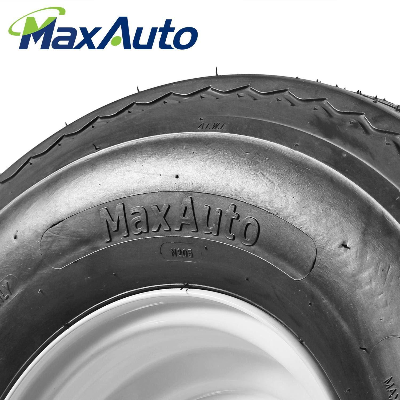 MaxAuto Set of 2 Trailer Tires /& Rims 570-8 5.70-8 5.70x8 6PR 5 Lug//4.5 Hole Bolt White Spoke Wheel