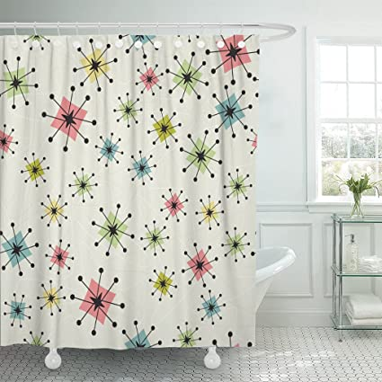 Emvency Shower Curtain Vintage Atomic Stars Retro Pattern On Of Boomerangs Items Are Grouped So You