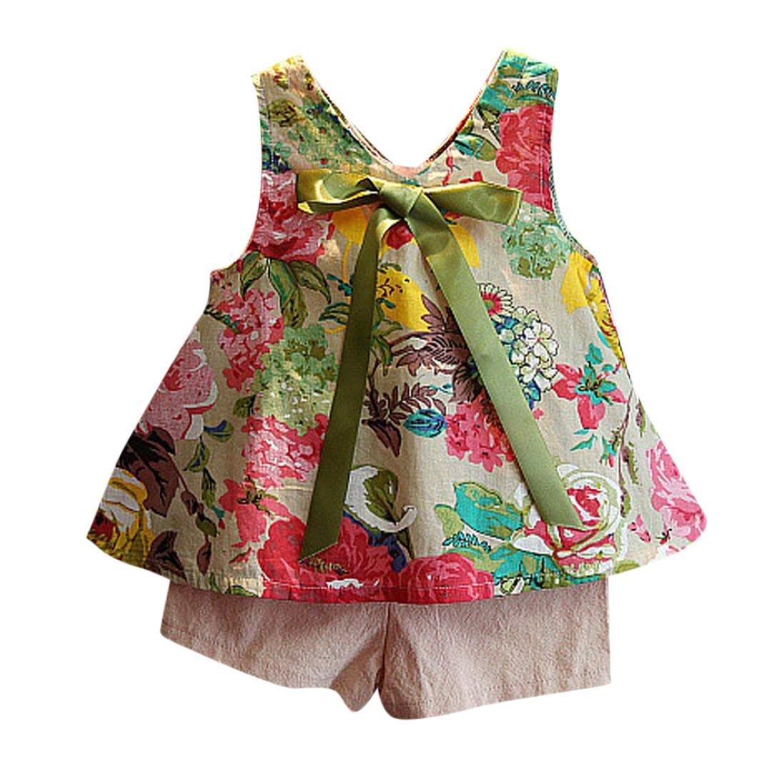 2eb1ead49ae Amazon.com  Funic 2Pcs Toddler Kids Baby Girls Outfits Set Floral Vest T- Shirt+Shorts Pants Set  Clothing