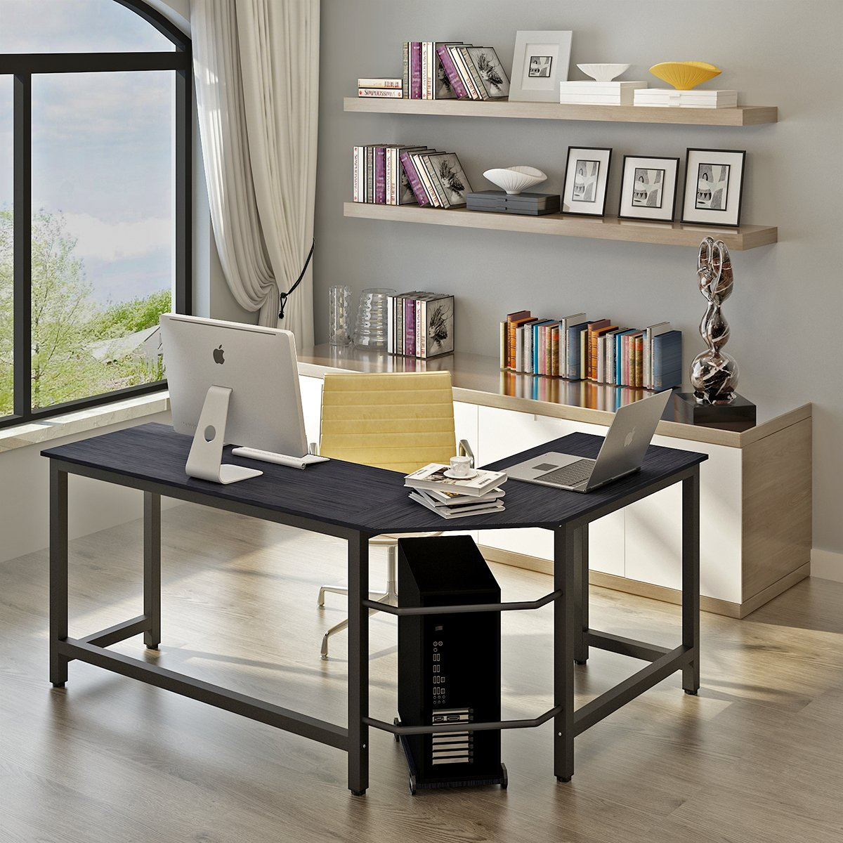 L Shaped Office Desk,Home Corner Desk, Computer Office PC Laptop Study Table Workstation Home Office Wood & Metal