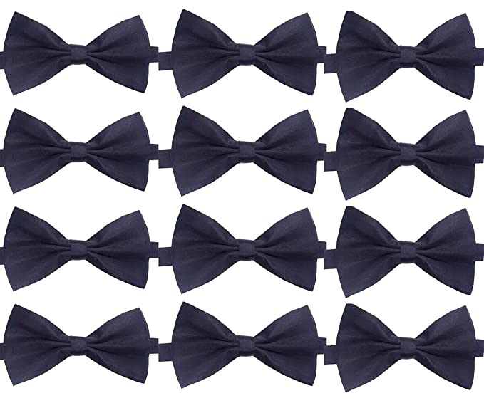 Glitterymall 12pcs Solid Color Pre-tied Mens Tuxedo Adjustable Neck Bowtie Bow Tie Collection Mixed Lot
