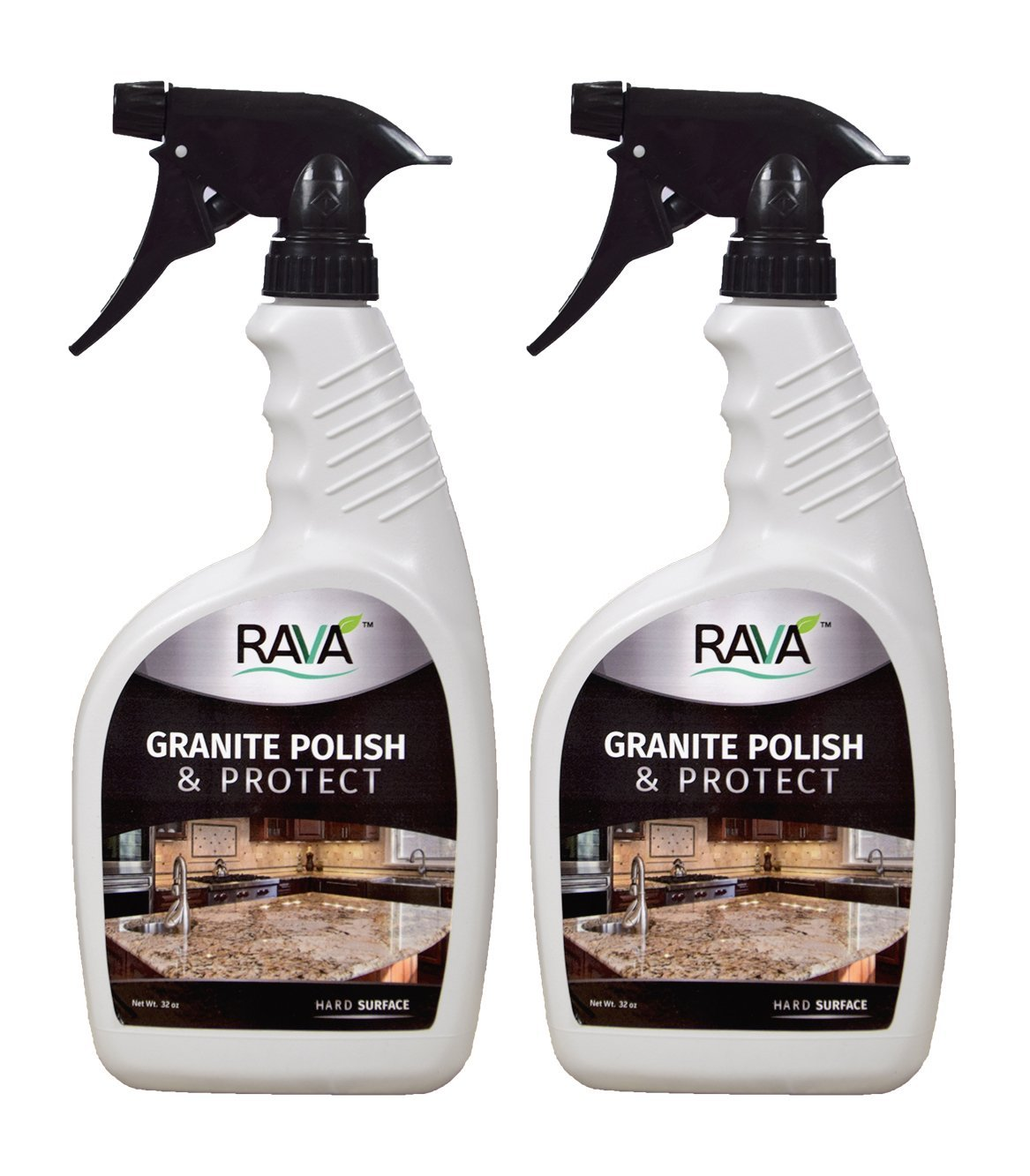 RAVA Granite Polish & Protect 32 oz Bottle 2 Pack Daily use to Clean and Shine Streak Free no Residue for Marble Granite Ceramic terrazo Quartz Stone and Simulated Stone